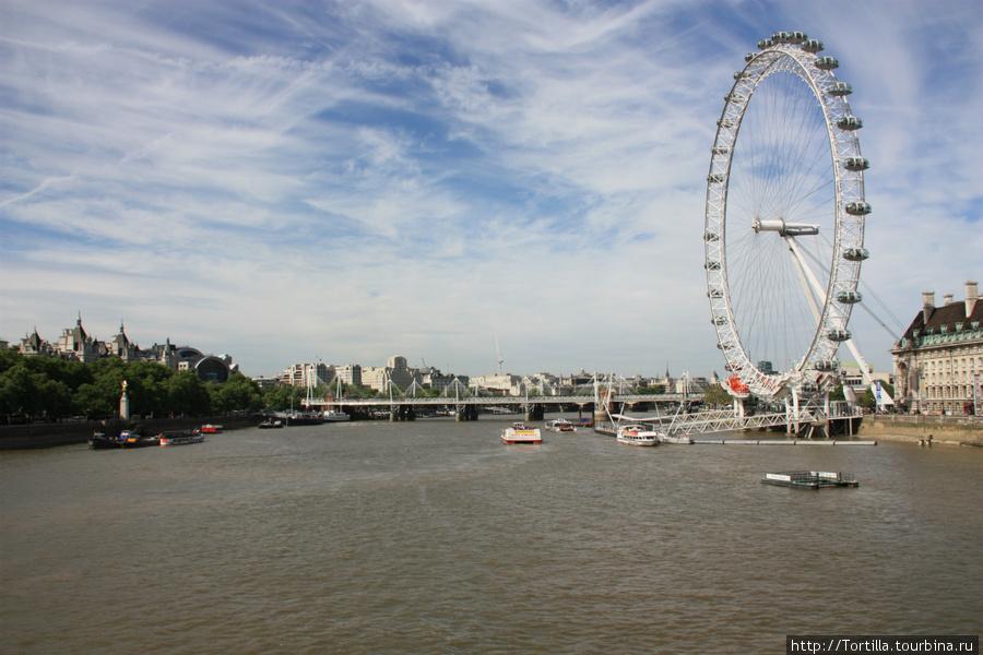 вид на Темзу и Лондон айз с Вестминстерского моста