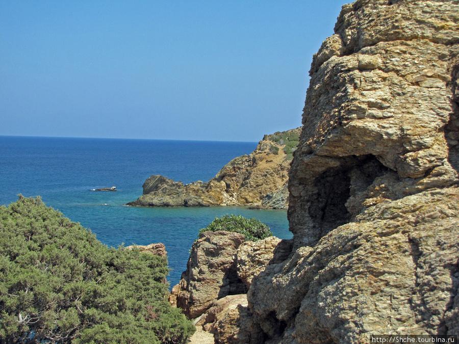 если от смотровой площадки пройти в эту расщелину между камнем и кустом, то откроется вид на пустующую живописную бухту