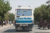 Почти всю дорогу до границы я спал. В перерывах между сном заметил вот такой весёлый автобус.