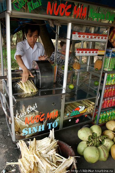 Аппараты для отжимки тростникового сока из сочных стеблей это уже больше камбоджийская конструкция. За 10 тысяч донгов можно получить большой стакан сока со льдом, здесь нам добавили еще лайм и ананас. Коконат стоит совсем смешные деньги. Оставляем здесь последние 30 тысяч донгов, наполнив ещё и термос вкусным соком со льдом.