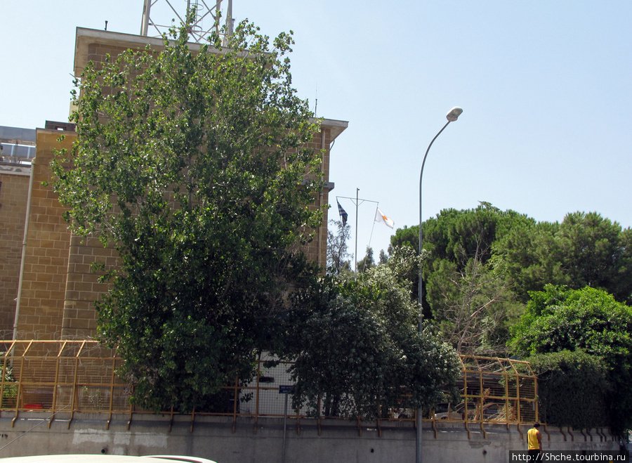 ... и рядом греческий и кипрский флаги с другой.