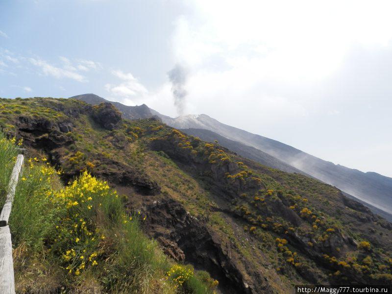 Вид на вулкан с обзорной площадки. Каждые несколько минут раздается громкое