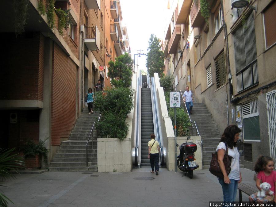 Подъём вверх по эскалаторам