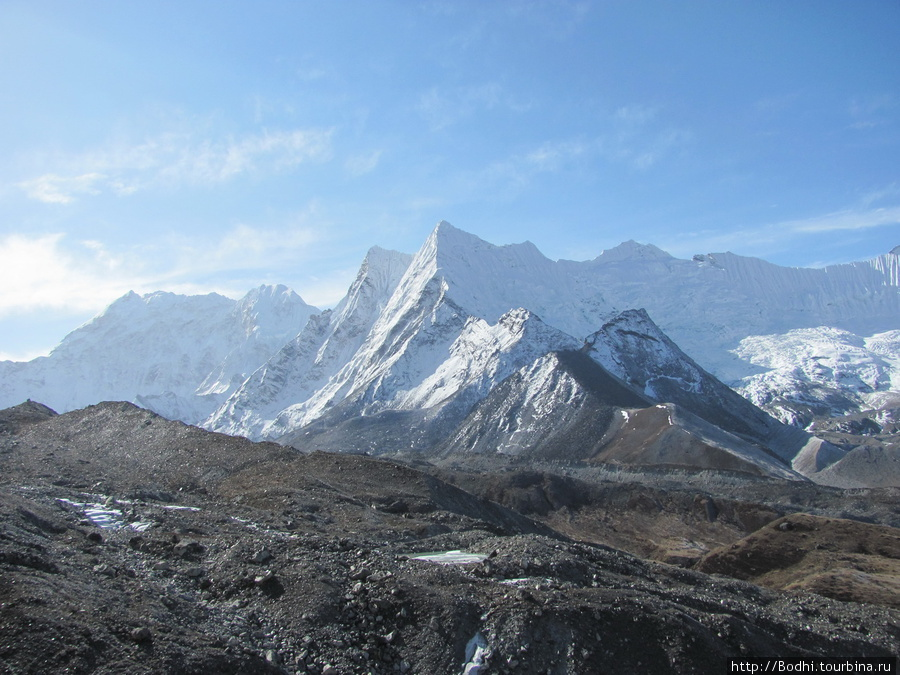 Вид с подъема на Чукхунг-Ри. Впереди — моренный вал ледника, сползающего с Лхоцзе, в середине видно лениковое озеро. Вдалеке — путь к Амбулапча-Ла — перевал высотой 5800 метров Чукунг, Непал