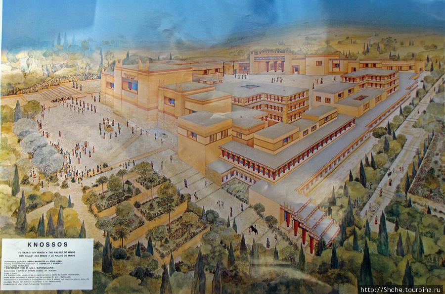 На выходе заметили цветной плакат с изображением дворца, как его представляют ученые, и почему я не заметил его вначале, было бы понятнее, где вообще мы гулям.