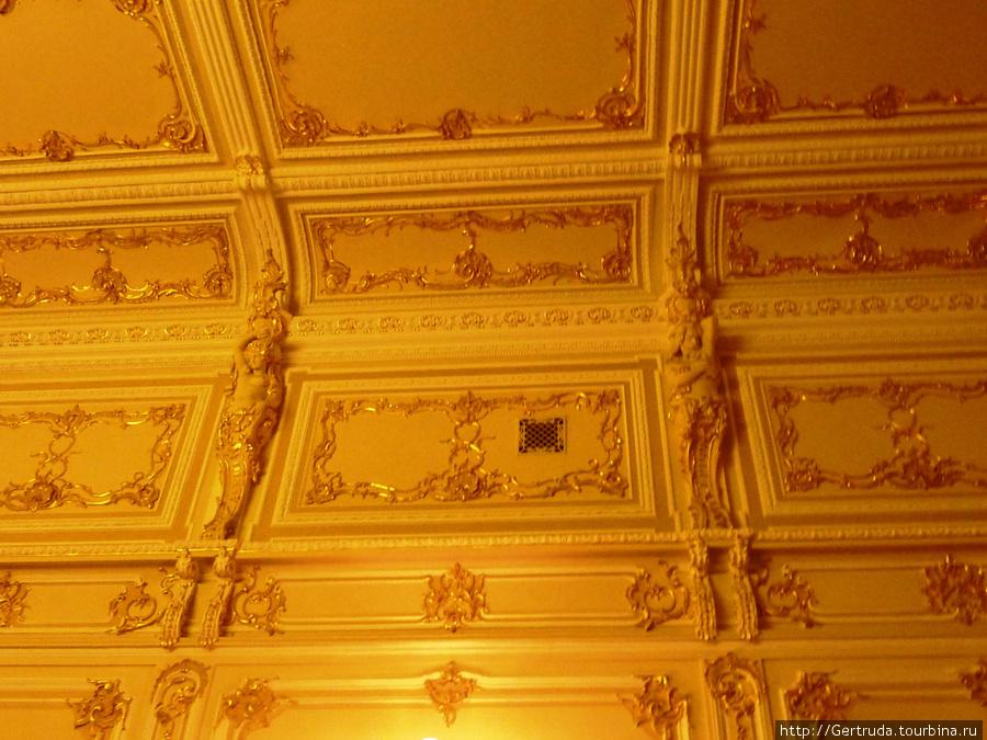 По всему периметру зрительного зала идут лепные украшения.