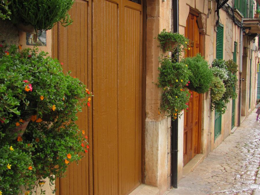 В старину подоконников не было, вот и украшали жители города свои дома просто вешая горшки с цветами на стены домов.