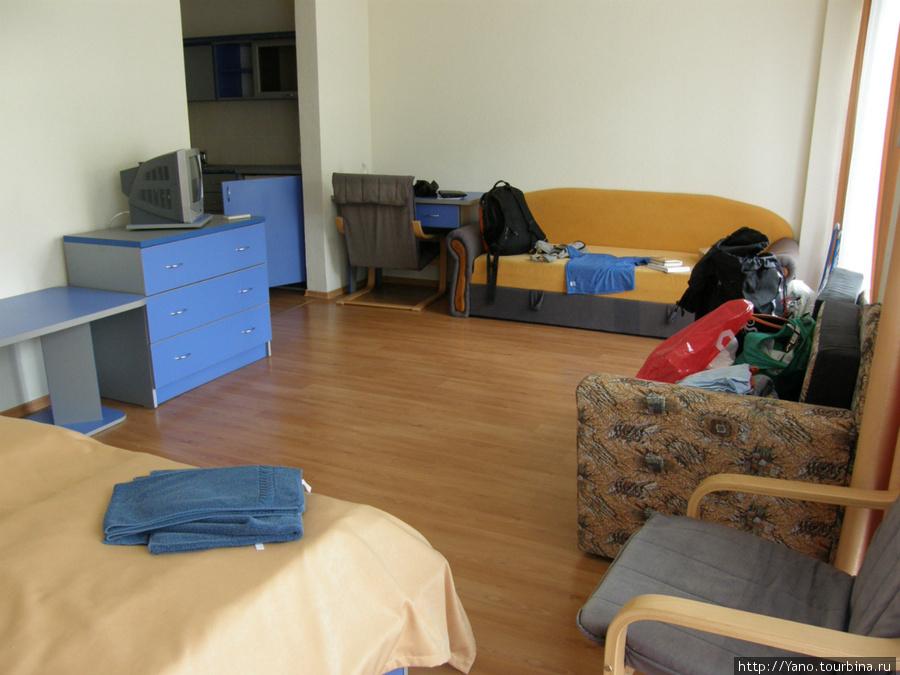 Номер условно 2-местный, но можно разместить еще 2-3 человека:) Один диван точно раскладывается