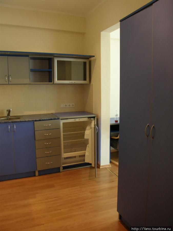 Миникухня с холодильником и мойкой.