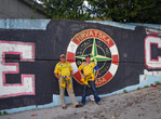 ...Мы пофоткались на фоне стадиона и местных усташающих граффити